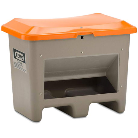 Bac à Sel CEMO PFV Plus3 - 400 Litres - Avec ouverture d'écoulement et passage de fourche